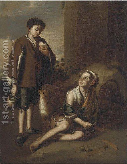 Invitation to the game of Poleta by Bartolome Esteban Murillo - Reproduction Oil Painting