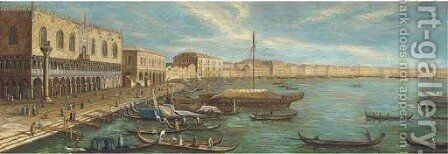 Vessels in front of the Doges palace, Venice by (Giovanni Antonio Canal) Canaletto - Reproduction Oil Painting