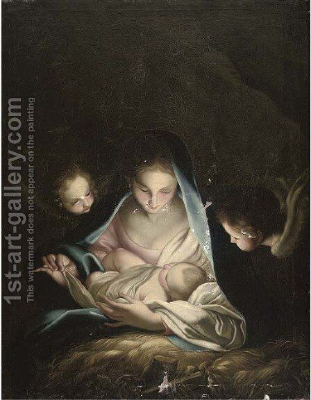 The Madonna and Child surrounded by cherubs by (after) Carlo Maratta Or Maratti - Reproduction Oil Painting