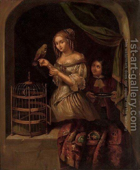 A lady with a parrot at a casement 2 by (after) Caspar Netscher - Reproduction Oil Painting