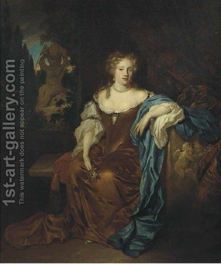 Portrait of a lady, full-length, in an ochre silk dress, seated on a terrace before a curtain, a fountain in a garden beyond by (after) Caspar Netscher - Reproduction Oil Painting