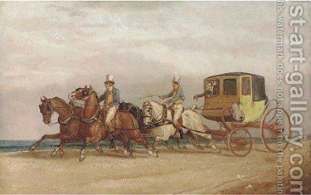 The coach to Gretna Green by (after) Charles Cooper Henderson - Reproduction Oil Painting