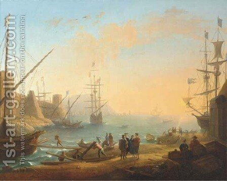 A Mediterranean harbour with shipping and merchants on the shore by Claude Lorrain (Gellee) - Reproduction Oil Painting