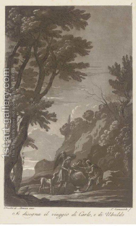 Classical and mythological figures in an Italianate landscape, by L. Caracciolo by (after) Claude Lorrain - Reproduction Oil Painting