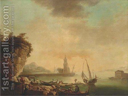 A Mediterranean harbour at sunset with stevedores on the quay by (after) Claude-Joseph Vernet - Reproduction Oil Painting