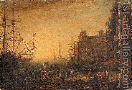 A Mediterranean port scene with the Villa Medici by (after) Claude-Joseph Vernet - Reproduction Oil Painting
