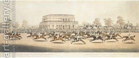 Panoramic view of Britsh horse-racing by (after) Clifton Thomson - Reproduction Oil Painting