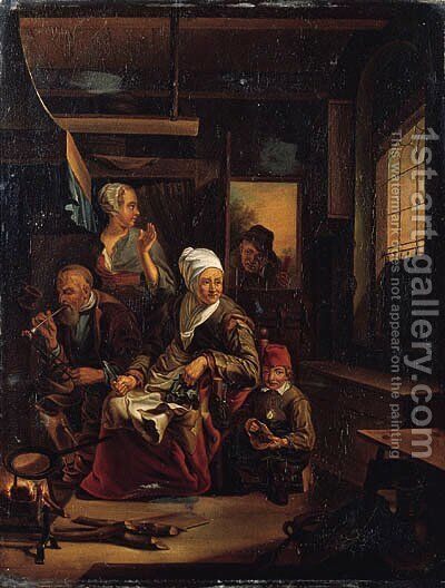An old woman baking pancakes on an open fire, an old man smoking a pipe and a child nearby, in a kitchen by Cornelius de Visscher - Reproduction Oil Painting