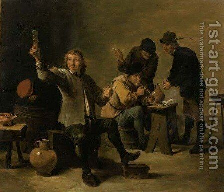 Boors smoking and drinking in an inn by David The Younger Teniers - Reproduction Oil Painting