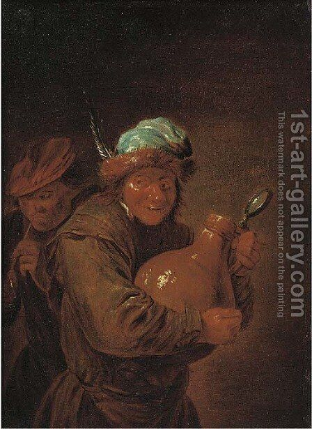 Peasants drinking and smoking in an interior 2 by David The Younger Teniers - Reproduction Oil Painting