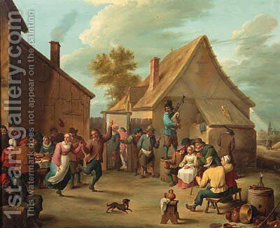 Peasants merrymaking in the courtyard of an inn by David The Younger Teniers - Reproduction Oil Painting