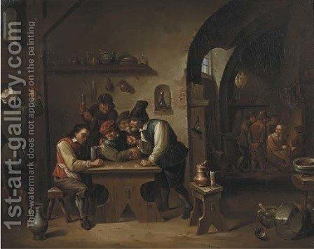 Peasants playing dice and making merry in an inn by David The Younger Teniers - Reproduction Oil Painting