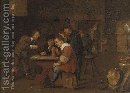 Peasants playing dice, smoking and drinking in an inn by David The Younger Teniers - Reproduction Oil Painting