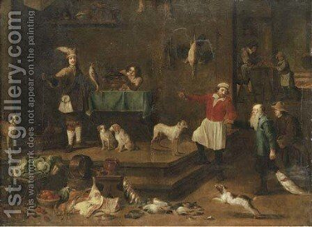 The interior of a palace kitchen by David The Younger Teniers - Reproduction Oil Painting