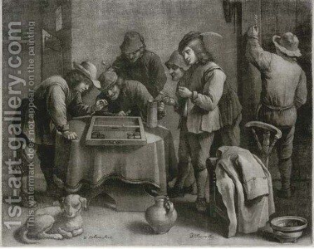Peasants playing a game in an inn, by W. Vaillant by (after) David Teniers - Reproduction Oil Painting