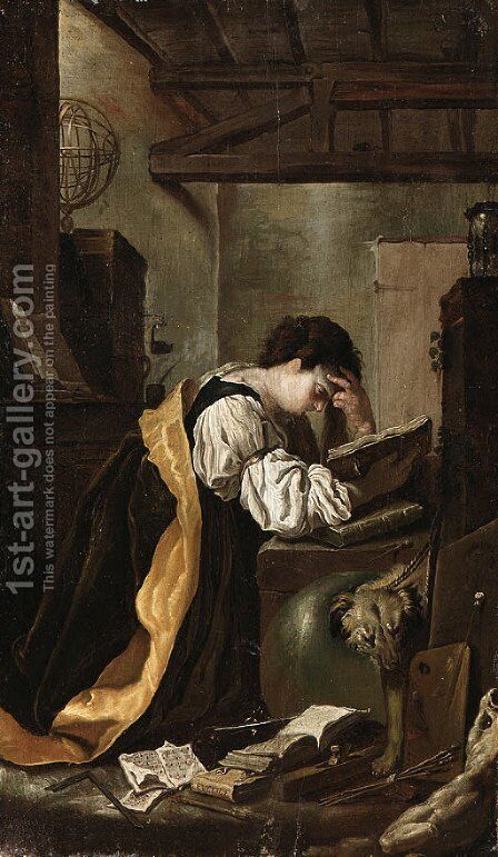 Reading by (after) Domenico Fetti - Reproduction Oil Painting