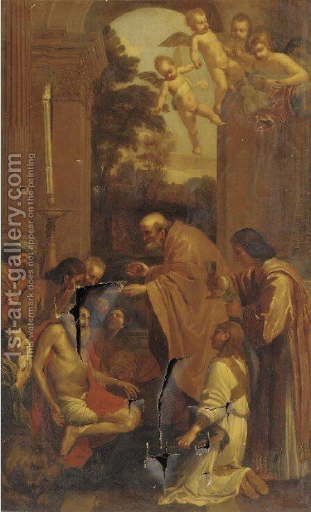 The Last Communion of Saint Jerome by (after) Domenichino (Domenico Zampieri) - Reproduction Oil Painting