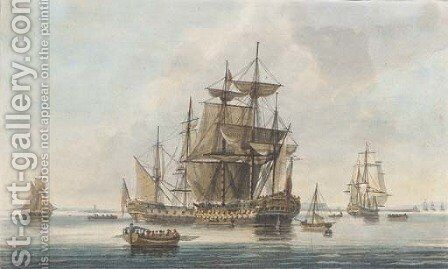 A calm at the entrance into Portsmouth, by J. Clark and J. Harribal by (after) Dominic Serres - Reproduction Oil Painting