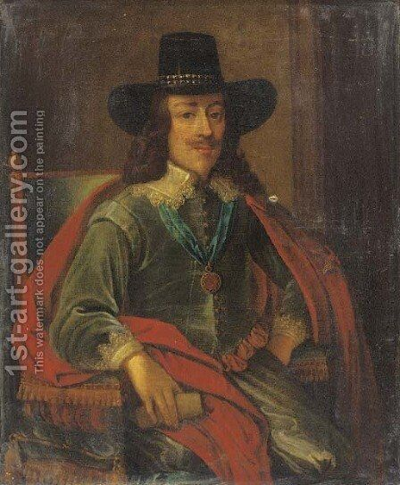 Portrait of King Charles I, seated three-quarter-length, in a green jacket, red cloak and black hat by (after) Edward Bower - Reproduction Oil Painting