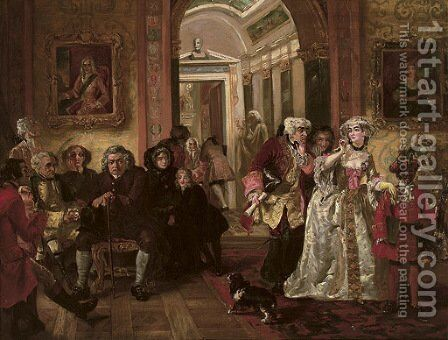Dr Johnson in Lord Chesterfield's waiting room by (after) Edward Matthew Ward - Reproduction Oil Painting