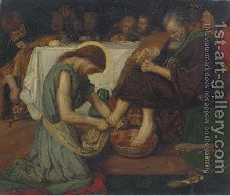 Jesus washing Peter's feet by (after) Ford Madox Brown - Reproduction Oil Painting