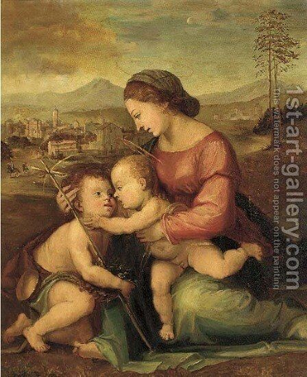 The Madonna and Child with the infant St. John the Baptist by (after) Fra Bartolommeo Della Porta - Reproduction Oil Painting