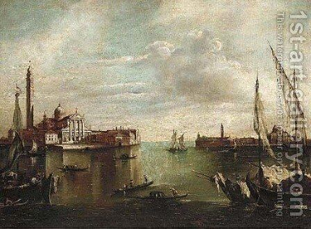A busy waterway before St. Giorgio Maggiore, Venice by (after) Francesco Guardi - Reproduction Oil Painting