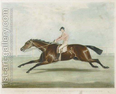 Conolly on Coronation, winner of the Derby Stakes on Epsom 1841 by (after) Francis Calcraft Turner - Reproduction Oil Painting