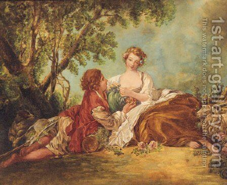A Shepherd and Sheperdess in a Landscape by (after) Francois Boucher - Reproduction Oil Painting