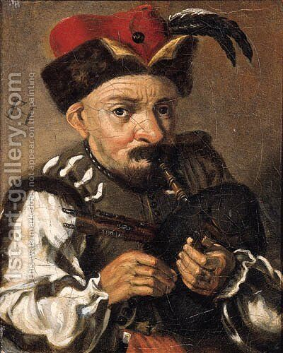 A man playing the bagpipes by (after) Frans Hals - Reproduction Oil Painting