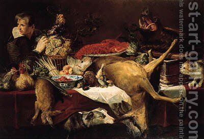 Chickens, a dead hare, artichokes, a bunch of asparagus, a melon, oranges, dead game, frais-de-bois in a klapmuts, a lobster on a porcelain dish by (after) Frans Snyders - Reproduction Oil Painting