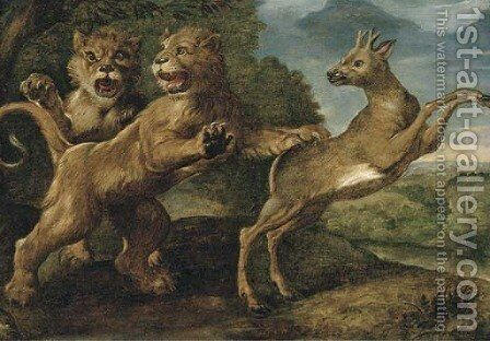 Two lions attacking a stag by (after) Frans Snyders - Reproduction Oil Painting