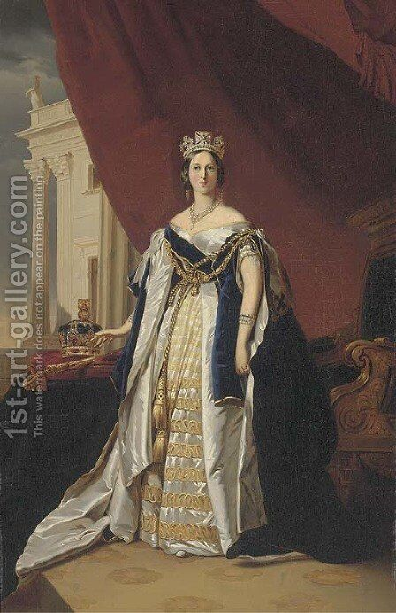 Portrait of Queen Victoria, small full-length, in coronation robes by (after) Franz Xavier Winterhalter - Reproduction Oil Painting