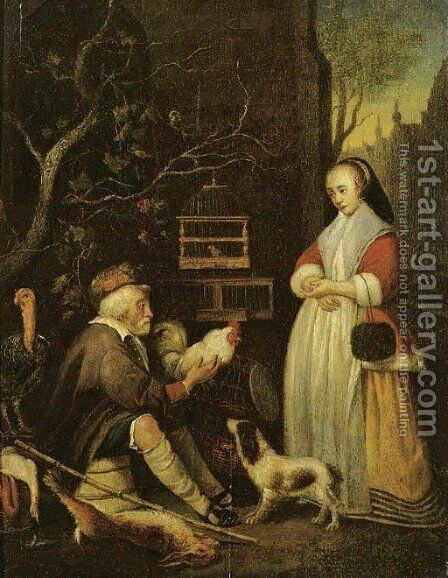 An old man selling game to an elegant lady by (after) Gabriel Metsu - Reproduction Oil Painting