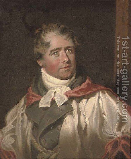 Portrait of Dr Charles Hague (1769-1821), bust-length, in a red and white gown over a grey coat by (after) George Henry Harlow - Reproduction Oil Painting