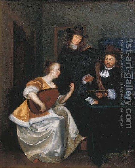 A woman playing the theorbo accompanied by two gentlemen, in an interior by (after) Gerard Ter Borch - Reproduction Oil Painting