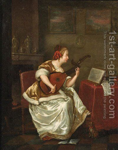 A woman, seated by a table in an interior, playing the lute by (after) Gerard Ter Borch - Reproduction Oil Painting