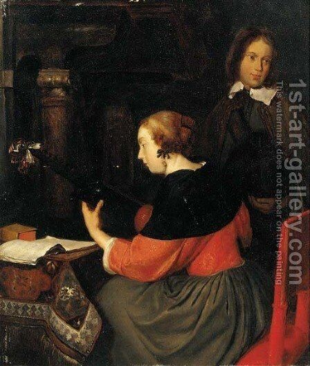A lady making music with a youth in an interior by (after) Gerard Terborch - Reproduction Oil Painting