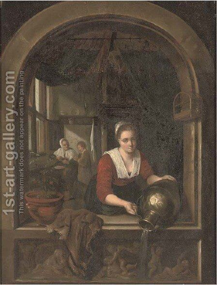 A girl with a water jug at a casement by (after) Gerrit Dou - Reproduction Oil Painting