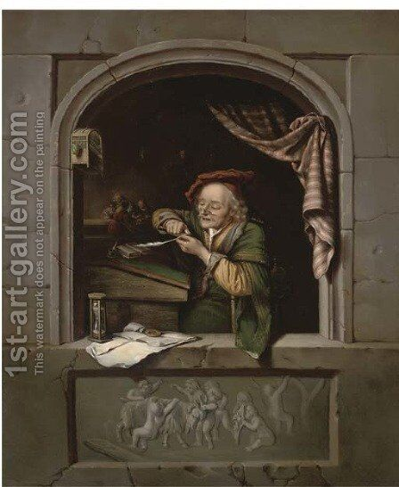 A scholar sharpening his quill at a casement by (after) Gerrit Dou - Reproduction Oil Painting