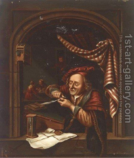 The tax collector by (after) Gerrit Dou - Reproduction Oil Painting