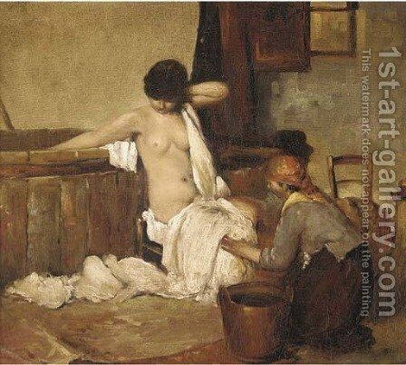 Dopo il bagno by (after) Giacomo Favretto - Reproduction Oil Painting
