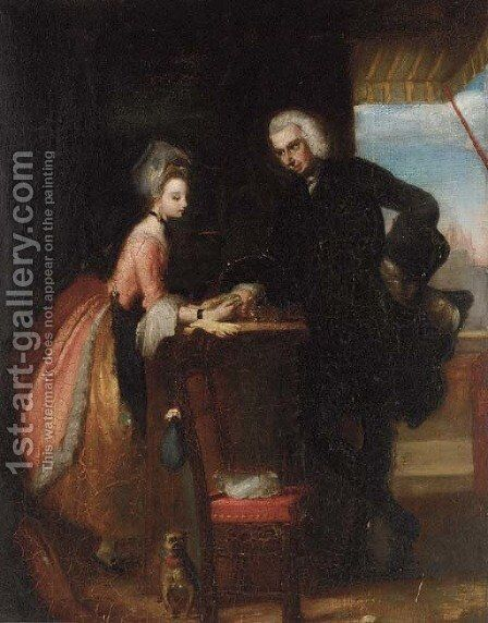 Yorick and Grisette at the haberdashers by (after) Gilbert Stuart Newton - Reproduction Oil Painting