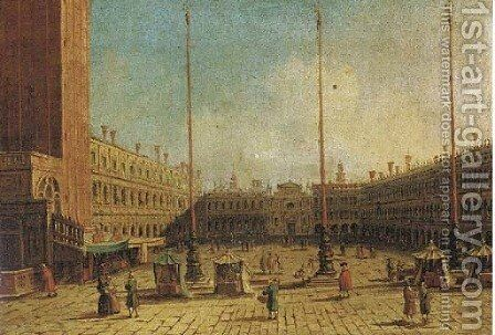 The Piazza San Marco, Venice, looking west along the central line by (Giovanni Antonio Canal) Canaletto - Reproduction Oil Painting