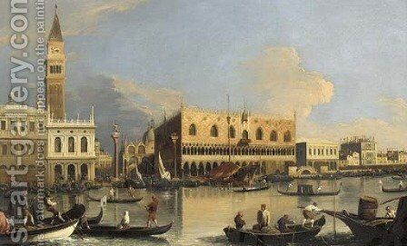 The Molo, the Doge's Palace and the Piazzetta, Venice, from the Bacino by (Giovanni Antonio Canal) Canaletto - Reproduction Oil Painting