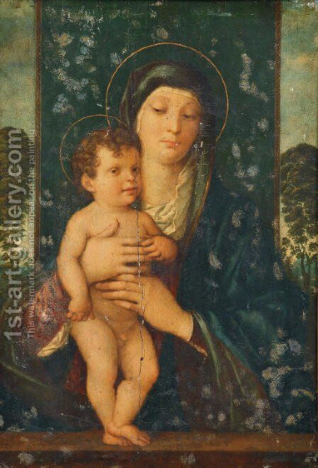 The Madonna and Child enthroned in a landscape by (after) Giovanni Bellini - Reproduction Oil Painting