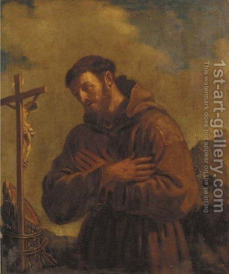 Saint Francis of Assisi by Giovanni Francesco Guercino (BARBIERI) - Reproduction Oil Painting