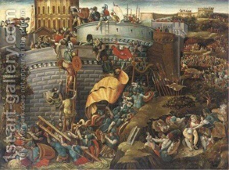 The Capture of Carthagena by Giulio Romano (Orbetto) - Reproduction Oil Painting