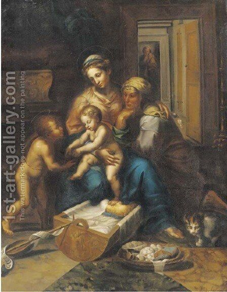 The Holy Family with the Infant Saint John the Baptist and Saint Elizabeth by Giulio Romano (Orbetto) - Reproduction Oil Painting