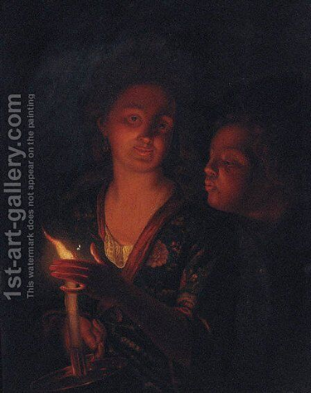 A boy blowing a candle held by a lady by (after) Godfried Schalken - Reproduction Oil Painting